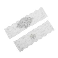 conjunto de liga blanca al por mayor-Sweet Bridal Leg Garters Prom Garter Encaje blanco nupcial boda Garter Belt 2 piezas set Encaje Rhinestones Cristales Perlas En Stock