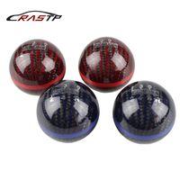 schwarzer roter schaltknauf großhandel-RASTP - Mugen Ball Typ 5 Geschwindigkeits- und 6-Gang-Racing-Schaltknauf aus schwarzem Kohlefaser mit roter Linie RS-SFN013