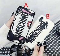 iphone cover graffiti achat en gros de-Graffiti lettre téléphone housse pour iPhone X 7 7plus 8 8plus 6 6plus 6S TPU silicone souple avec lanière de luxe