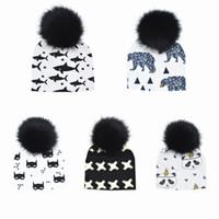 16b46990a1211 Baby Hat Faux Fur Baby Cap Cotton Pompom Bobble Hat For Kids Winter Boys  And Girls Caps Artificial Fur Children's Hats