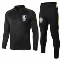 korea klagemann großhandel-2018 Soccer Jacket Korea Trainingsanzug Jacke Set Männer Kit Schwarz Langarm Voller Reißverschluss Trainingsanzug Sportswear Set