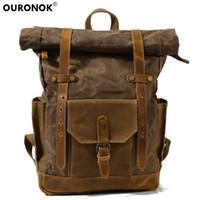 bolsa de lona de couro mochila venda por atacado-dos homens do vintage OURONOK mochila de lona impermeável Travel Bag Leather Backpack Mulheres Mochila College School Weekend bolsas de couro