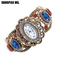relojes indios al por mayor-SUNSPICEMS Retro Vintage Turco Cuff Bangle Watch Jewlery Antique Gold Color Resina Indio Étnico Regalo de boda Reloj de pulsera de cuarzo