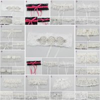 Wholesale Lace Garter Stockings - 12 Different Bridal Garters for Brides Bridesmaid 2018 Lace Satin Tulle Elastic Teen Homecoming Party Garters Real Pictures In Stock