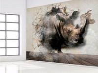 Wholesale custom wallpaper designs - Creative Vivid Rhinoceros Broken Wall Animal Mural Custom 3D Wallpaper Photo Bedroom Living Room Personalized Decorative Wall Mural