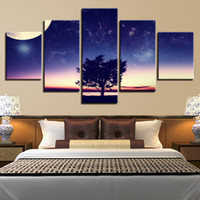 2a27db3e721 Home Living Room Wall Decoration Modern Printing 5 Pieces Moon And Trees  Landscape Canvas Paintings Art Modular Posters Pictures