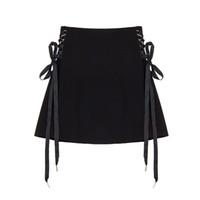 mini saia venda por atacado-Saias De Harajuku Lados Lace Up Preto Mini Saia Para Gótico Menina A Linha De Cintura Alta Saia Com Zippper