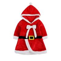 robes filles filles noires achat en gros de-Xmas Baby girls robe à capuche enfants Santa Claus Princess dress 2018 fashion costume de Noël enfants Vêtements C5132