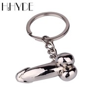 Wholesale Steel Penis Ring - H:HYDE Male Key Chain for Lovers Metal Sexy Dick Penis Keyring Individual Keychains Woman Gifts Man Cock Car Key Ring Holder