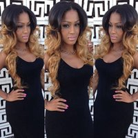 Wholesale cheap synthetic two tone wigs - Free shipping cheap heat resistant wavy two tone blonde #1b 27HR Ombre synthetic lace front wigs body wave for blonde women IN Stock