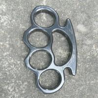 jarret de laiton épais noir achat en gros de-Épais et puissant boucle de ceinture pour hommes et femmes en laiton knuckle knuckle knuckles en acier noir 1pc