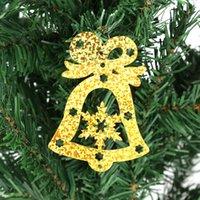 campana de navidad de plástico decoraciones al por mayor-100 UNIDS Plástico Galvanoplastia Bell Lentejuelas Navidad Colgando Confeti Decoración no tóxico y seguro mejor precio