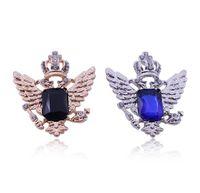 Wholesale rhinestone crown brooch for sale - Group buy Blue black ocean gem angel wings crown brooch Fashion easy matching collar Multicolor alloy with rhinestone brooch