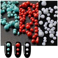 ingrosso decorazioni turchesi-1 confezione / lotto 1mm 3mm 4mm Ciano / Rosso / Bianco Rotondo con decorazioni naturali per unghie color turchese