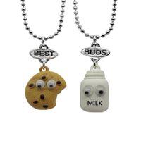 Wholesale free best friend necklaces resale online - Best Friends Pendant Bead Chain Necklace Milk Cookie Biscuit Kids Lead Free set