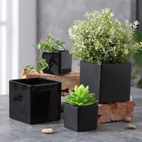 Wholesale desktop shapes - Originality Ceramics Flowerpots Square Shape Flower Pot Large Number Dumb Light Garden Pots On Desk Home Decorative Fashion Simple 9 5xp3 jj
