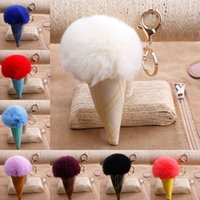 Wholesale ship keychains for sale - Group buy Newest Colors Pom Pom Ball Keychains Ice cream Fur Key Rings For Women Key Holder Birthday Gifts Support FBA Drop Shipping G249Q