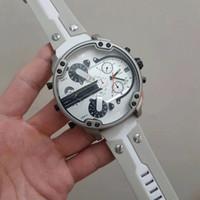 relógios de rosto branco para homens venda por atacado-Relógios de luxo dos homens DZ Assista 57 MM grande mostrador cinta de aço mancha DZ7401 rosto Branco 2018