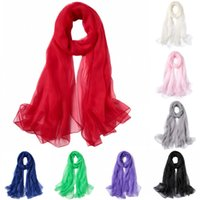 Wholesale Big Silk Scarves - 180*120cm 2018 Big Size Chiffon Long Scarfs Women Fashion High Quality Imitated Silk Satin Scarves Polyester Shawl Hijab Wraps CPA1289