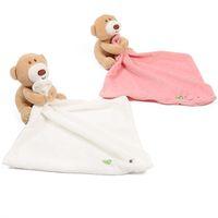 ours bébé serviette achat en gros de-Bébé dormir apaiser couverture enfant en bas âge jouets en peluche dessin animé ours poupées apaiser serviette 24 * 24 cm C4791