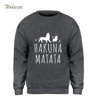sudadera con capucha león rey al por mayor-The Lion King Hoodie Men Hakuana Matata Sudadera Diseño gráfico Sudaderas 2018 Winter Autumn Fleece Warm Brand Streetwear