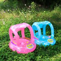 juguetes inflables de agua para bebes al por mayor-Asiento hinchable para bebés Asiento para nadar con flotador para la piscina con sombrilla Asiento para nadar para niños para nadar Asientos de agua inflables