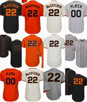 Wholesale Field Brown - Men's youth women San Francisco #22 Andrew McCutchen Orange Alternate On-Field 60th Season Patch Flex Base Collection baseball Jersey S-4XL