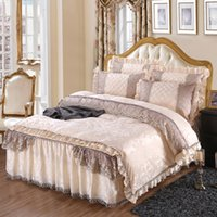 Wholesale bedspread white jacquard - Jacquard Fleece Winter Bedding set Soft Warm Bedclothes 4 6Pcs Full Queen King size Lace Bed skirt Duvet Cover set Bedspread 38