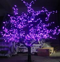 kiraz çiçeği açtı hafif ağaçlar toptan satış-1.5 M 1.8 m 2 m Parlak LED Kiraz Çiçeği Yılbaşı Ağacı Aydınlatma Su Geçirmez Bahçe Peyzaj Dekorasyon Lambası Düğün Için noel