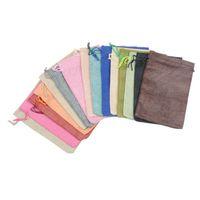 bolsas de almacenamiento de té al por mayor-En blanco llanura bolsa de tela pequeña cordón bolsa de la joyería de regalo de embalaje de bolsillo DIY bolsa de té de caramelo vacío T2I390