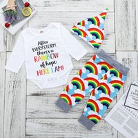mamelucos coloridos al por mayor-Baby Colorful Letter Rompers + Rainbow Pants Outfits Otoño 2018 Baby Boutique Ropa Euro America Infant Toddlers mangas largas 3 PC Set