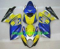 motocicletas gsxr plásticos venda por atacado-Hi-Grade Motocicleta Carenagem kit para SUZUKI GSXR1000 K7 07 08 GSXR 1000 2007 2008 ABS Plástico Amarelo azul Carenagens set + Presentes SX13
