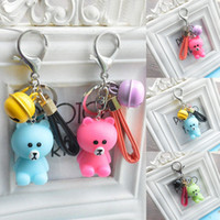 Wholesale resin boy ornament - New Cute Cartoon Small Bear Bells Keychain Keyring Pendant Novelty Personality Bag Ornament Accessory Key Holder 3 Styles Free DHL G734Q