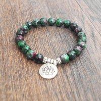 Wholesale Tibetan Red Bead Bracelet - Natural Stone Beads Strand Bracelet Yoga Chakra Mala Prayer Bracelets Women Men Charm Healthy Jewelry Tibetan Stretch Bracelet