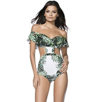 Wholesale women swimsuit backless one piece resale online - One Piece Swimsuit Sexy Swimwear Women Summer Beach Wear Leaf Bathing Suit Bandage Backless Halter Top Bikini lx W