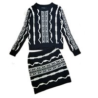 white cashmere top 2018 - Two Piece Set 2018 Europe and America Autumn Winter New Fashion Black and White Corrugated Cardigan Jacket Tops Skirt Knitted