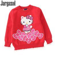 hola suéteres al por mayor-Jargazol ropa para niños suéter de la niña de dibujos animados Hello Kitty impreso otoño invierno camisa de manga larga para niñas suéteres lindos