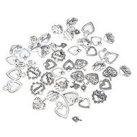 takılar kolye diy mix toptan satış-30 adet Karışık Stil Kalp Kolye Charms Takı Yapımı Bulguları DIY Craft Aksesuarları Için Gümüş Renk Aşk Kalp Charms Bedels