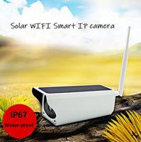 kamera sd ir ip toptan satış-Kablosuz Güneş kamera Açık su geçirmez Güneş Enerjisi 2Mp 1920x1080 p iki yolu ses WIFI IP IR bullet kamera ile SD yuvası ve cep 'ın APP