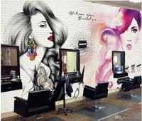 ingrosso carta da parati di bellezze-3d carta da parati personalizzata foto Pittura europea e americana di tendenza negozio di barbiere trucco di bellezza ricamo murale carta da parati per pareti 3d soggiorno