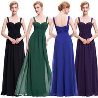 beyaz yeşil şifon elbiseler toptan satış-Uzun Şifon Gelinlik Modelleri Mor Yeşil Beyaz Siyah Mavi Gelin Balo Elbise Abiye
