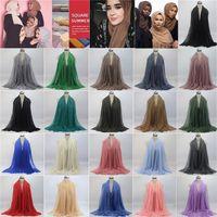 Wholesale tartan hijab - New Women Maxi Shawls Oversize Islamic Head Wraps Soft Long Muslim Frayed Crepe Premium Cotton Plain Hijab Scarfs 100 pcs Scarves C0153
