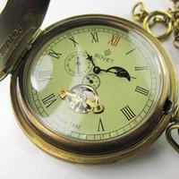 relógio mecânico moonphase venda por atacado-Velho 100% Antique Duplo Capa MoonPhase Mens Mecânica Pocket Watch