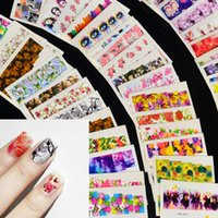 color de agua de mariposa al por mayor-Nail Art Sticker Sets Mixed Color Flower Full Water Decals Mariposa Slider Stickers para la manicura polaca