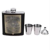 becher tasse box großhandel-Tragbare 7oz Edelstahl Flachmann mit Box als Geschenk Whisky Ehrliche Flachmann Flasche Becher Wisky Kanister mit 2 Tassen 1 Trichter