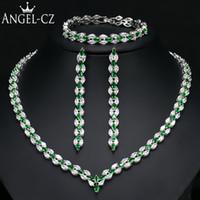 joyería india cz al por mayor-ANGELCZ Marca Nueva Hoja CZ Collar de Boda Pendientes Pulsera para Las Mujeres Indias Nupcial Verde Conjuntos Moda Joyería de Cristal AJ126