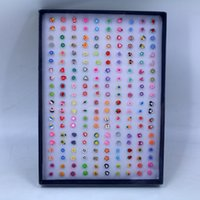 Wholesale clay earrings designs resale online - New Design Small Size pairs polymer clay girl earring stud sets carton earring set for kids