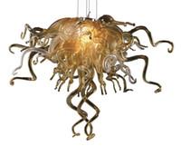 accesorios de vidrio de arte al por mayor-Decoración de navidad Cristal de oro Colgante de luz Lámparas LED Comedor Luces de comedor Mano Lámpara de vidrio soplado para la nueva decoración de la casa