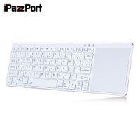 крышка клавиатуры bluetooth алюминий оптовых-IPazzPort 65BT Wireless White Computer Keyboard Bluetooth 3.0 Ultra-Slim Design 80 Keys IOS Android Windows Aluminum Cover Mouse