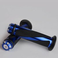 blaue lenker groihandel-New Blue Aluminium genarbten Gummi Motorrad Lenkergriffe 7/8